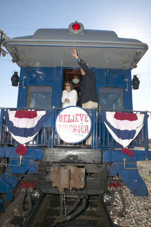 across america: Senator and Mrs. John Kerry waving from back of Whistle Stop Kerry Express across America train, Gallup, NM Editorial