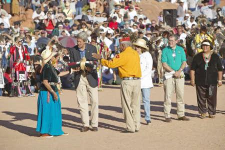 83rd: Exchange of item between Senator John Kerry and member of Intertribal Indian Ceremony, Gallup, NM