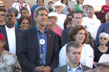 83rd: Senator and Mrs. John Kerry standing in audience of 83rd Intertribal Indian Ceremony, Gallup, NM