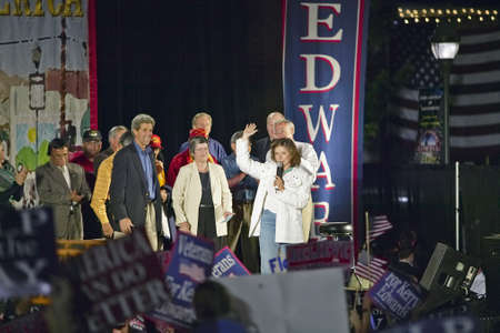 campaigning: Teresa Heinz Kerry speaking from stage of Believe in America campaign tour, Kingman, AZ