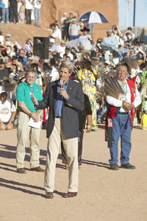 83rd: Senator John Kerry speaks from microphone at 83rd Intertribal Indian Ceremony, Gallup, NM Editorial