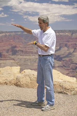 senators: Senator John Kerry speaking at the rim of Bright Angel Lookout, Grand Canyon, AZ