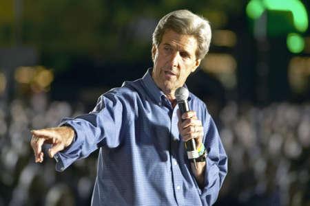 flagstaff: Senator John Kerry speaking from stage at Heritage Square, Flagstaff, AZ