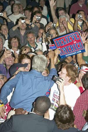 campaigning: Senator John Kerry shaking hands in crowd at Heritage Square, Flagstaff, AZ