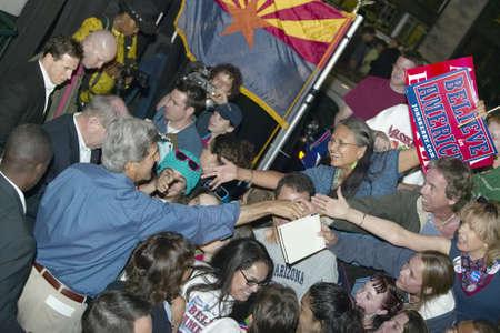 flagstaff: Senator John Kerry shaking hands in crowd at Heritage Square, Flagstaff, AZ