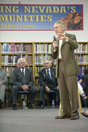 campaigning: Senator Harry Reid speaking at the Ralph Cadwallader Middle School, Las Vegas, NV
