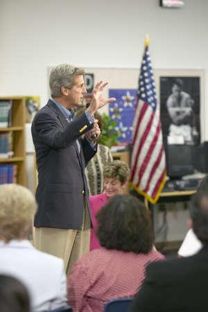 senators: Senator John Kerry speaking to audience at the Ralph Cadwallader Middle School, Las Vegas, NV