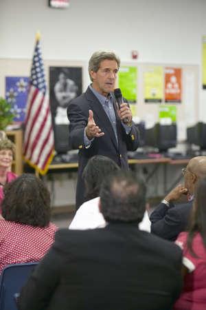 senator: Senator John Kerry speaking to audience at the Ralph Cadwallader Middle School, Las Vegas, NV
