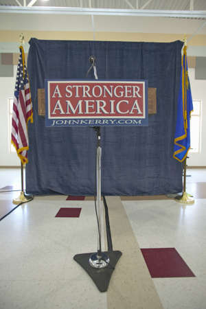 campaigning: Empty stage and microphone at Kerry Campaign rally, Valley View Rec Center, Henderson, NV  Editorial
