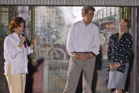 senator: Senator John Kerry and family speaking from stage at outdoor Kerry Campaign rally, Kingman, AZ