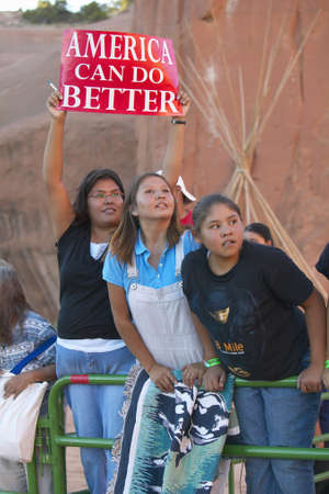 campaigning: Native American children holding presidential campaign sign, Red Rock State Park, Gallup, NM  Editorial