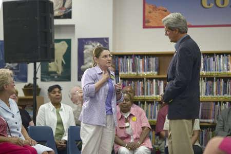 senator: Senator John Kerry listening to question at the Ralph Cadwallader Middle School, Las Vegas, NV