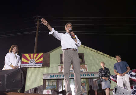 kerry: Senator John Kerry, Kerry family, speaking from stage at outdoor Kerry Campaign rally, Kingman, AZ