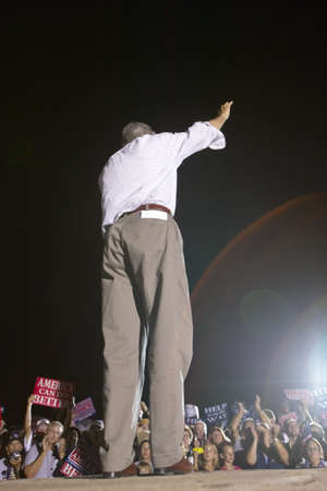 campaigning: Senator John Kerry speaking from stage at outdoor Kerry Campaign rally, Kingman, AZ Editorial