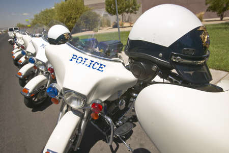 rec: Unmanned police motorcycles parked in front of Valley View Rec Center, Henderson, NV Editorial