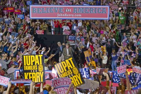 senator: Senator John Kerry greets audience of supporters at the Thomas Mack Center at UNLV,  Las Vegas, NV