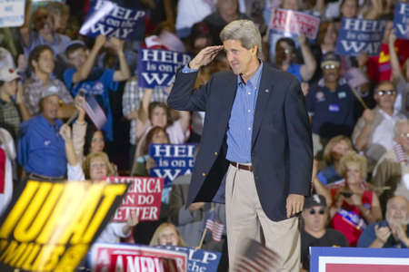 mack: Senator John Kerry salutes to audience of supporters at the Thomas Mack Center at UNLV,  Las Vegas, NV Editorial