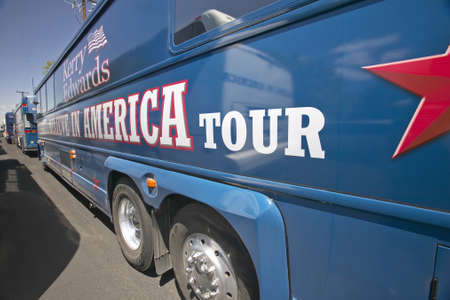 busses: Believe in America tour busses parked in front of Valley View Rec Center, Henderson, NV Editorial