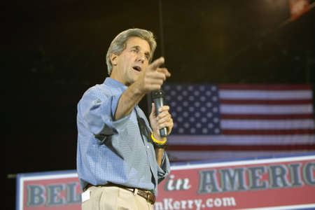 mack: Senator John Kerry addresses audience of supporters at the Thomas Mack Center at UNLV,  Las Vegas, NV Editorial