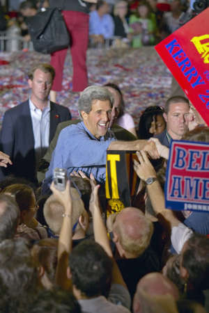 mack: Senator John Kerry shakes hands with supporters at the Thomas Mack Center at UNLV, Las Vegas, NV Editorial
