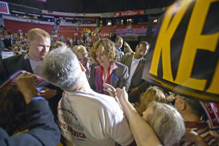 mack: Teresa Heinz Kerry interacts with crowd of supporters at the Thomas Mack Center at UNLV, Las Vegas, NV Editorial