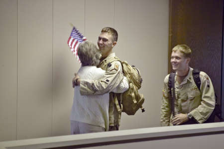 American soldiers returning home from the war in Iraq at the Tucson Airport 2004, Tucson, Arizona