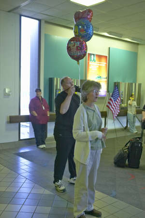 homecoming: American soldiers returning home from the war in Iraq at the Tucson Airport 2004, Tucson, Arizona