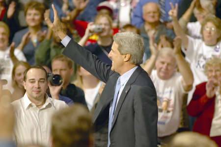 Senator John Kerry addresses audience of supporters at a southern Ohio high school gymnasium in 2004