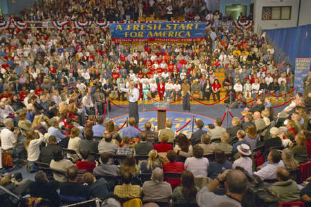 addresses: Senator John Kerry addresses audience of supporters at a southern Ohio high school gymnasium in 2004