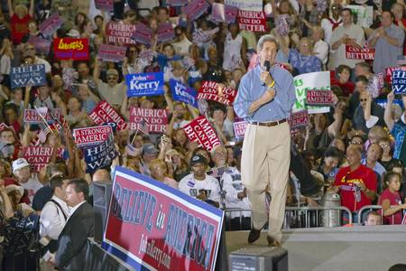 mack: An enthusiastic Senator John Kerry addresses audience at the Thomas Mack Center at UNLV,  Las Vegas, NV