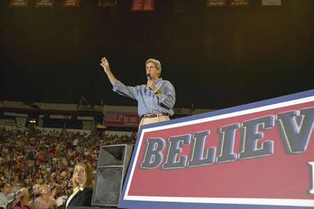 senator: Senator John Kerry addresses audience of supporters at the Thomas Mack Center at UNLV, Las Vegas, NV Editorial
