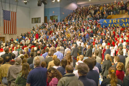 senator: Senator John Kerry addresses audience of supporters at a southern Ohio high school gymnasium in 2004