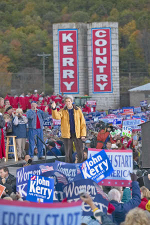 campaigning: On a mid-October bus tour through rural southern Ohio, Kerry visits a small farm in southern Pike County