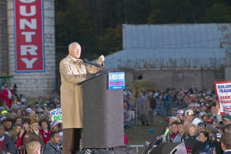 glenn: Senator John Glenn addresses the crowd during a mid-October bus tour through rural southern Ohio, Kerry visits a small farm in southern Pike County Editorial