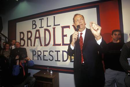Democratic presidential candidate Bill Bradley addresses a rally of supporters at the Bradley campaign headquarters in Manchester, New Hampshire September 21, 2000