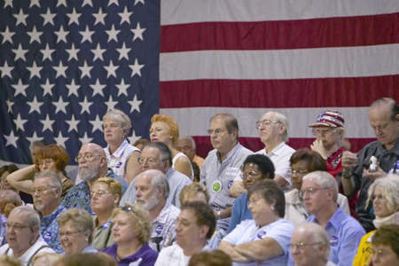 Audience of retired persons at Senator John Kerry campaign rally, Valley View Rec Center, Henderson, NV