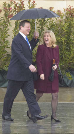 vp: VP Al Gore and Tipper Gore walk along stage during the official opening ceremony of the Clinton Presidential Library November 18, 2004 in Little Rock, AK