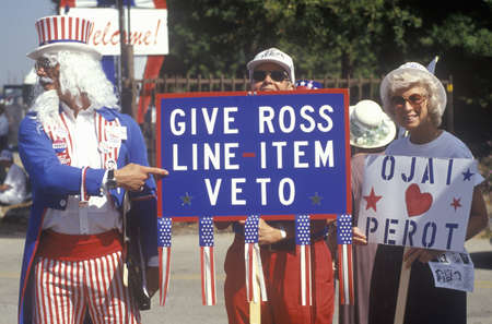 A man dressed as Uncle Sam and other supporters of Ross Perot campaign for his 1992 United States presidential election run in Ojai, California