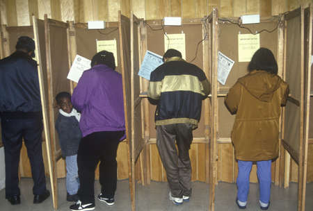 polling: Voters and voting booths in a polling place, CA Editorial