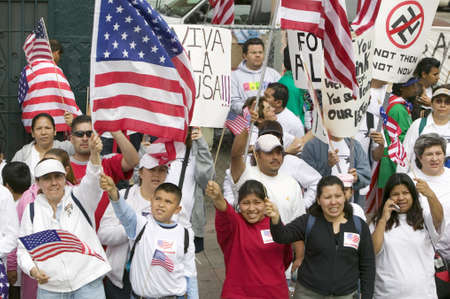 political rally: Hundreds of thousands of immigrants participate in march for Immigrants and Mexicans protesting against Illegal Immigration reform by U.S. Congress, Los Angeles, CA, May 1, 2006 Editorial