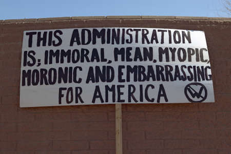 domestic policy: Poster sign protesting the policies of President George W. Bushs administration in Tucson, Arizona