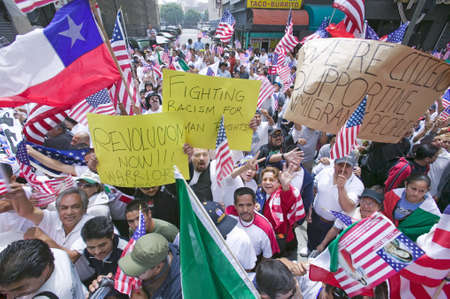 hundreds and thousands: Hundreds of thousands of immigrants participate in march for Immigrants and Mexicans protesting against Illegal Immigration reform by U.S. Congress, Los Angeles, CA, May 1, 2006 Editorial