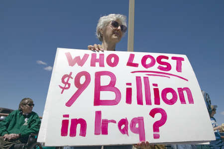 political rally: Picture of anti-Bush political rally in Tucson, AZ with signs about Iraq War in Tucson, AZ Editorial