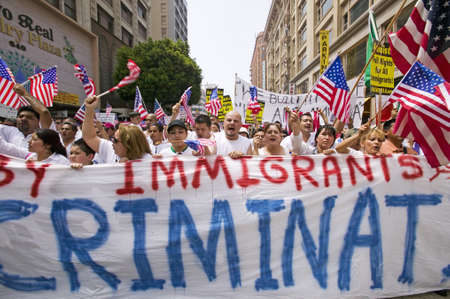 political and social issues: Hundreds of thousands of immigrants participate in march for Immigrants and Mexicans protesting against Illegal Immigration reform by U.S. Congress, Los Angeles, CA, May 1, 2006 Editorial