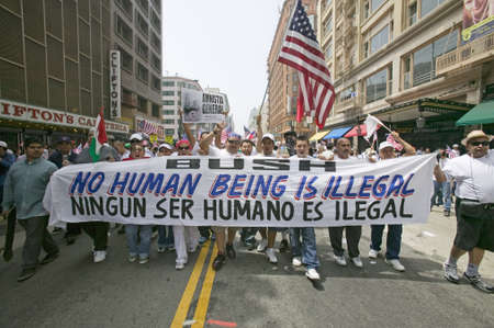 rallying: Hundreds of thousands of immigrants participate in march for Immigrants and Mexicans protesting against Illegal Immigration reform by U.S. Congress, Los Angeles, CA, May 1, 2006 Editorial