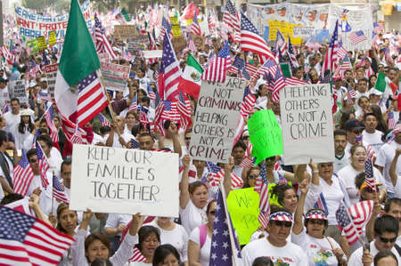 Hundreds of thousands of immigrants participate in march for Immigrants and Mexicans protesting against Illegal Immigration reform by U.S. Congress, Los Angeles, CA, May 1, 2006 Reklamní fotografie - 20712752