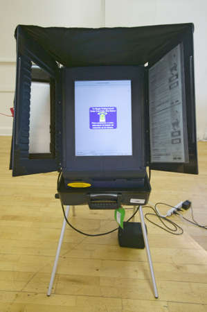 Electronic voting booth for blind during Congressional election, November 2006, in Ojai, Ventura County, California