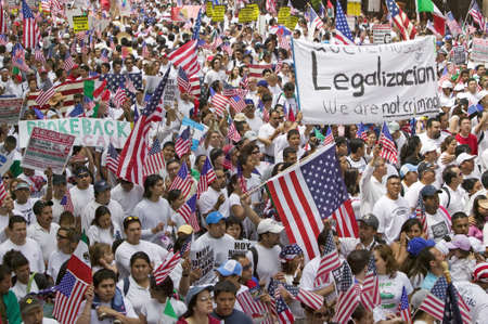 immigration: Hundreds of thousands of immigrants participate in march for Immigrants and Mexicans protesting against Illegal Immigration reform by U.S. Congress, Los Angeles, CA, May 1, 2006 Editorial