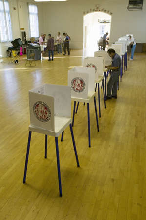 Voting stands for Congressional election, November 2006, in Ojai, Ventura County, California