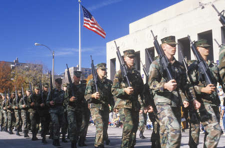 marchers: Soldiers Marching in Veterans Day Parade, St. Louis, Missouri Editorial
